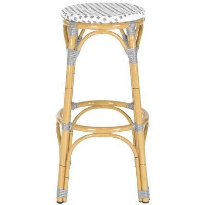 Safavieh Home Collection Kipnuk Indoor/Outdoor Barstool, Grey and White picture