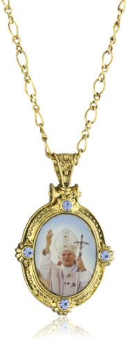 The Vatican Library Collection Gold-Tone with Sapphire Oval Pope John Paul Ii Necklace
