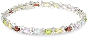 Sterling Silver Multi-Gemstone Tennis Bracelet