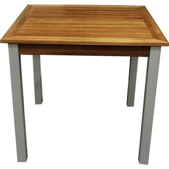 Garden / Patio Outdoor Aluminium  &  Teak Square Table (Pre-treated) - 80x80cm - stylish and durable furniture for your garden