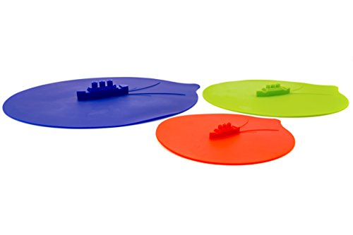 Steam Ship Silicone Steamer Lid & Food Container Lid 3 Piece Set - Top Quality, 100% Safe Silicone - Perfect For Food And Vegetable Steamers, Great Splatter Screen (Banana Leaf Lid compare prices)