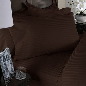 Luxurious Chocolate Damask Stripe, California King Size. Eight (8) Piece Goose Down Comforter Bed In A Bag Set. 1500 Thread Count Ultra Soft Single-Ply 100% Egyptian Cotton. Includes 4Pc Bed Sheet Set, 3Pc Duvet Set & Goose Down Comforter