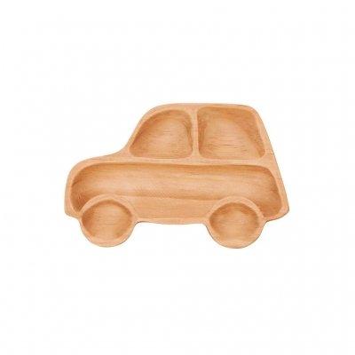 Petits Et Maman Kids' Wood Plate, Car - 1