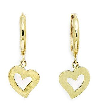 14ct Yellow Gold CZ Heart Drop Hinged Earrings - Measures 25x9mm