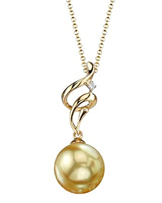 Golden South Sea Pearl & Diamond Aria Pendant in 18K Gold