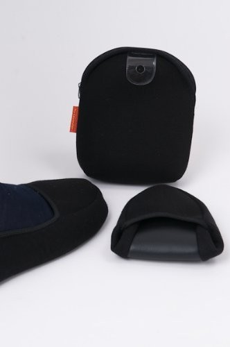 【かかと付き】Lサイズ二つ折携帯用スリッパ【黒】男性用・女性Lサイズ相当 旅行・学校用スリッパにオススメ