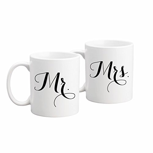The Coffee Corner - Mr. And Mrs. Coffee or Tea Mug Set - 11 Ounce White Ceramic - Set of 2 Mugs - Perfect Wedding, Bridal Shower, Anniversary Gift - Gift for Newlyweds - His and Hers Mugs