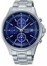Seiko Chronograph Watch, Blue/Stainless