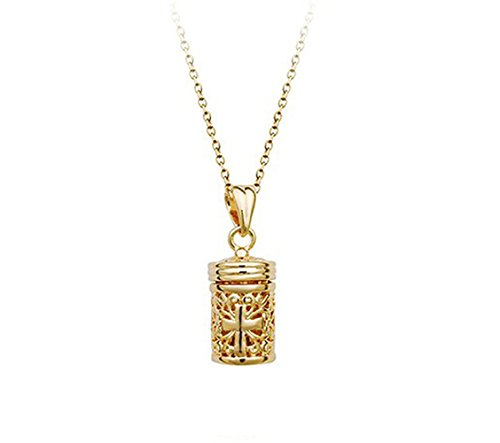 Prayer Box Tubular Shaped With Cross Pendant Hollow Style Unisex Necklace Fashion Jewelry (Gold Plated)