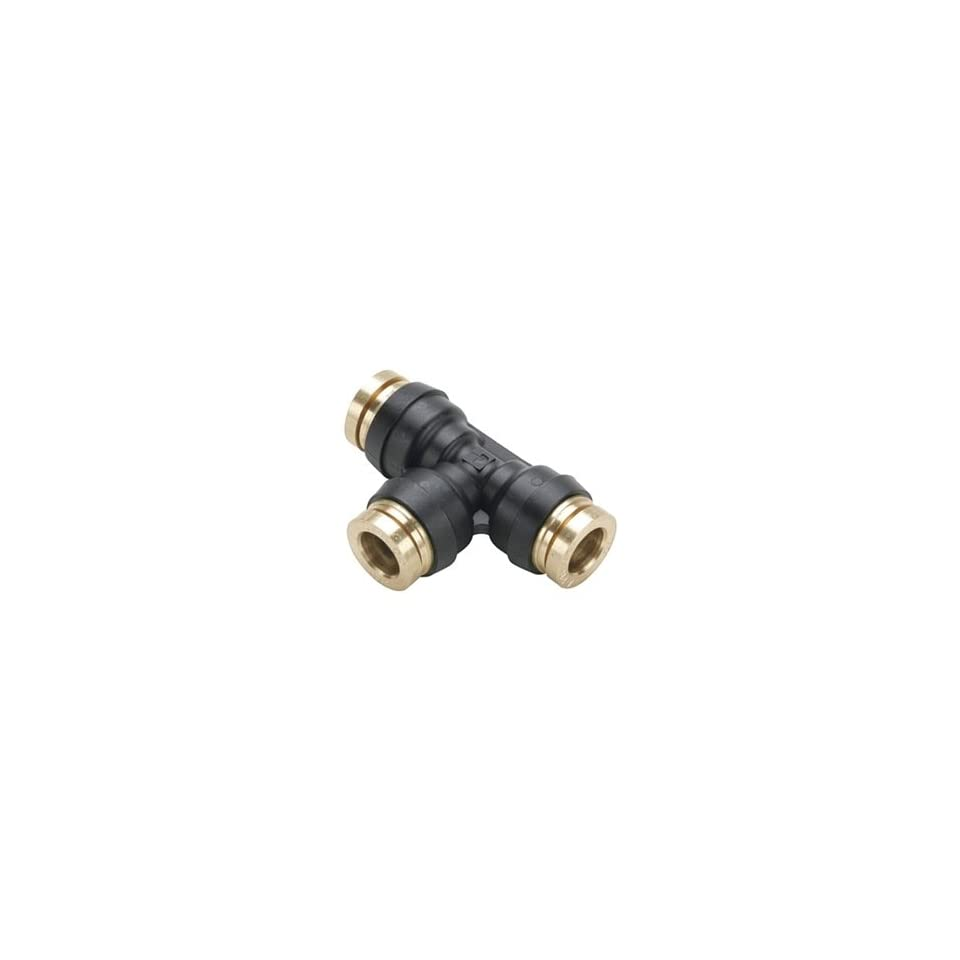 Legris 364PTC 6 Nickel Plated Brass Air Brake Push to Connect Fitting, Union Tee, 3/8 Tube OD
