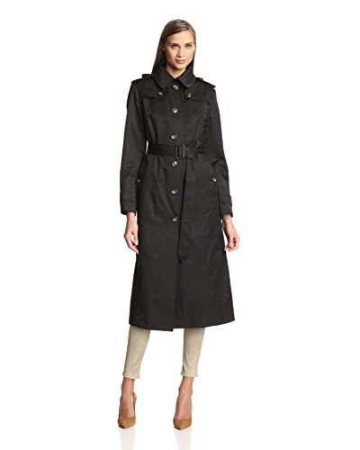 London Fog Women's Long Single-Breasted Raincoat