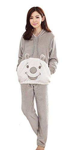 Tonwhar Women'S Winter Cartoon Flannel Pajama Sets Loungewear (Asian L (Us S), Gray) front-810771
