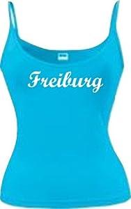 Shirtstown Lady Spaghettiträger Top Deine Stadt Freiburg City Shirts Sport, kult, Größe S-XL