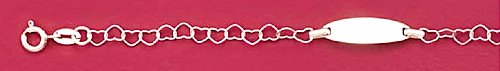 Sterling Silver Heart Link Bracelet, Child-Size, 5-1/2+1 inch Ext., 18x6mm Engraveable ID Plate