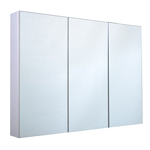 Best Price! Tangkula 36″ Wide Wall Mount Mirrored Bathroom Medicine Cabinet Storage 3 Mirror Door