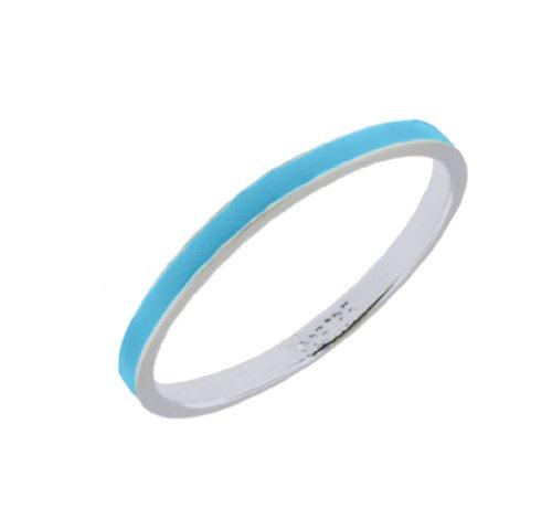 Silver Turquoise Enamel Stacking Ring