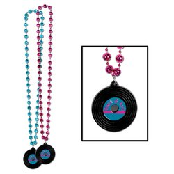 Beads w/Rock & Roll Record Medallion (asstd cerise & turquoise) Party Accessory  (1 count) (1/Card) - 1