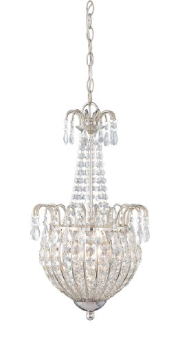 Quoizel JLE2812IS Jolene 3-Light Chain Hung Pendant Lamp, Imperial Silver