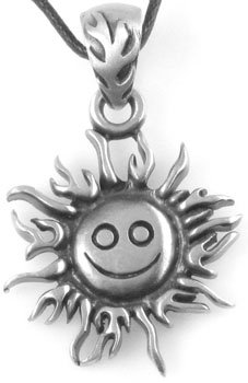 Sunny Happy Face Sun Pewter Pendant Necklace