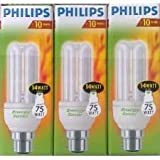 3 x 75 watt (14 watt energy) Philips Low Energy Saver Saving Light Bulb Bayonet Cap
