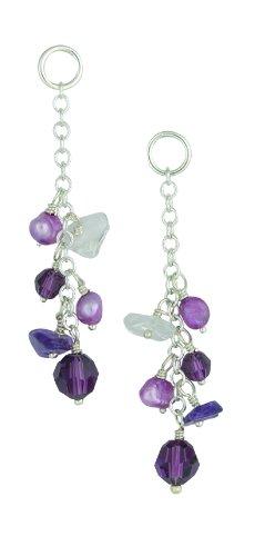 Silver 126 Purple Pearl and Amethyst Crystal Drop Earrings