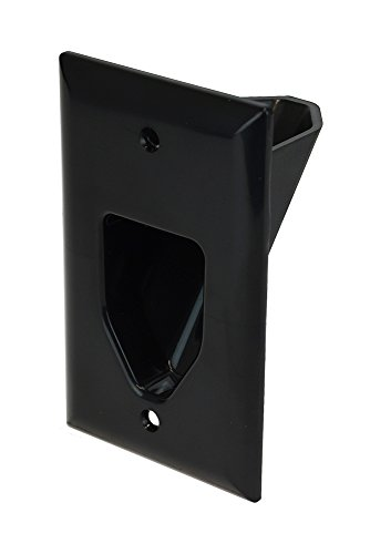 DataComm Electronics 45-0001-BK 1-Gang Recessed Low Voltage Cable Plate, Black
