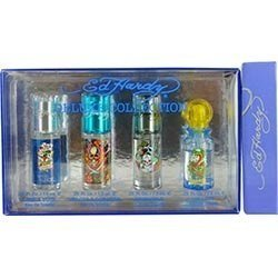 Ed Hardy Variety 4 Piece Mens Mini Set With Ed Hardy Love & Luck & Ed Hardy Hearts & Daggers & Ed Hardy Born Wild & Ed Hardy Villain & All Are Edt Spray .25 Oz Men
