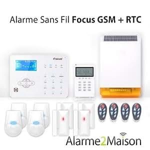 Focus - Alarme Maison sans fil Focus GSM + RTC - 5 à 6 Pièces
