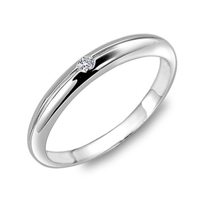 18K White Gold Comfort Fit Single Inlay Polish Finishing Women Wedding Band (0.02 cttw, G-H Color, VS2-SI1 Clarity)