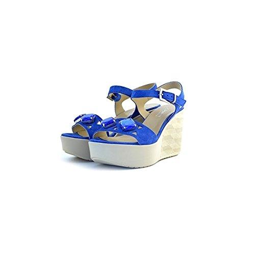 Scarpe sandali donna Jeannot numero 36 32237 in camoscio blu suede zeppa tacco