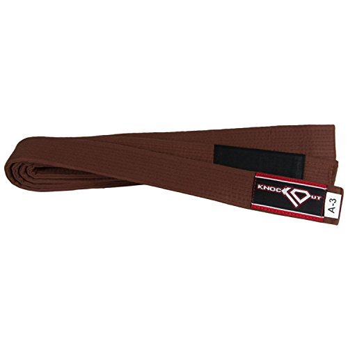 BJJ Brazilian Jiu Jitsu Gi Belt by KO Sports Gear - 100% Cotton (Brown, A6)