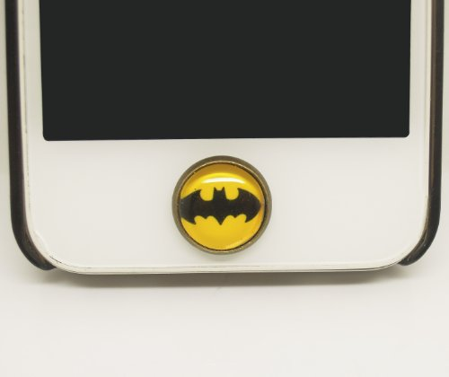 Kids Gift 1pc Glass Epoxy Batman Transparent Times Gems iPhone Home Button Sticker for Iphone 4,4s,4g,5,5c Cell Phone Charm