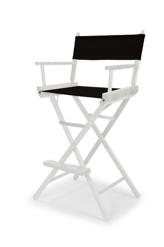 Telescope Casual Heritage Bar Height Director Chair, Black with White Frame