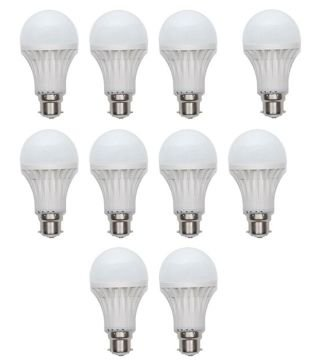 3W Virgin Plastic B22 LED Bulb (White, Pack Of 10)