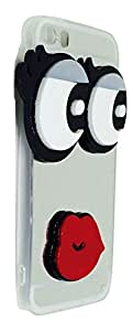 3D Red Lips Big Eyes Mirror Finish Back Cover With Hanging Neck Strap For Iphone 5