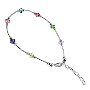 bda004 Sterling Silver Multi Crystal Anklet 9 to 10 inch Ankle Bracelet Made with Swarovski Elements