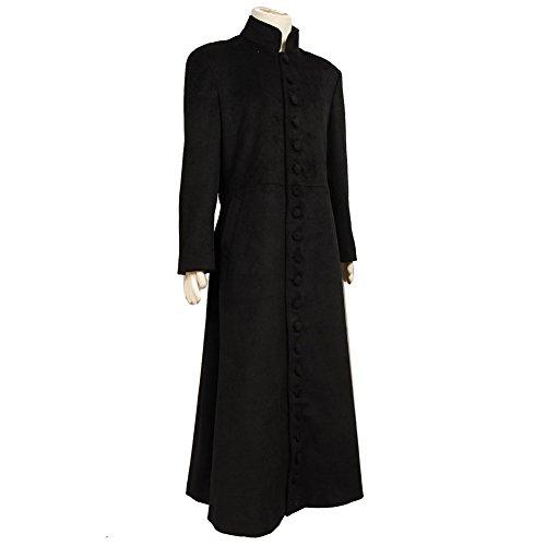 Matrix Neo Cosplay Costume Black Wool Trench Coat (The Matrix Neo Costume)