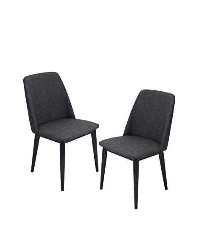 Lumisource Tintori Set of 2 Dining Chairs, Charcoal/Black