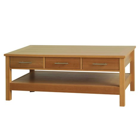 Oak Veneer Coffee Table - 3 Drawers and 1 Lower Shelf - Hardwood