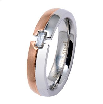4MM Polished Stainless Steel Wedding Ring with Rose Color Plated Edge and Additional Radiant CZ in Center For Women