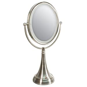 zadro led lighted 10x 1x oval satin nickel vanity mirror. Black Bedroom Furniture Sets. Home Design Ideas
