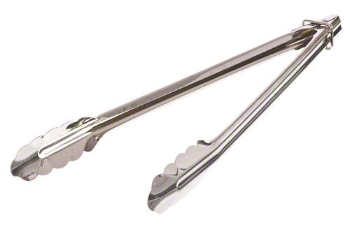 Update International ST-12LR 18/0 Stainless Steel Spring Tongs with Locking Ring, 12-Inch
