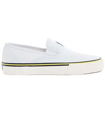 Polo Ralph Lauren-Sneakers-Pantaloni bianco Tela Slip On scarpe per uomo, bianco (White), 45 EU