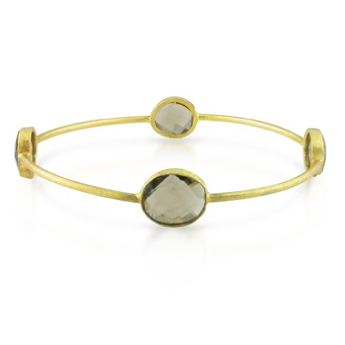 22k Yellow Gold Plated Silver 16ct TGW Smokey Quartz Bangle (7in)