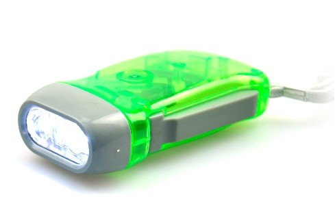 Domire Hand Press No Battery Wind Up Crank Camping Outdoor,Hand Crank Flashlight,3 White Leds,Home Or Car Light - Green Energy,Green