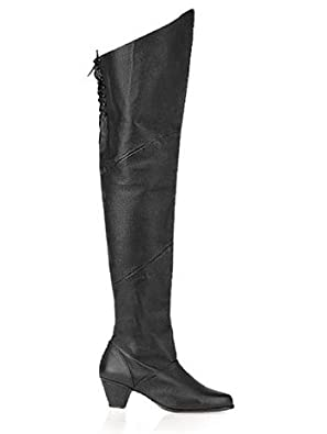 Black Pig Leather Thigh High Boot - 9