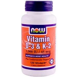 Now Foods, Vitamin D-3 & K-2, 1,000 IU / 45 mcg, 120 Vcaps