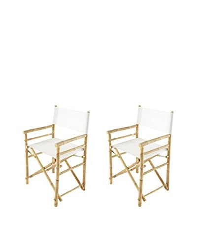 ZEW, Inc. Set of 2 Bamboo Director Chairs, White As You See