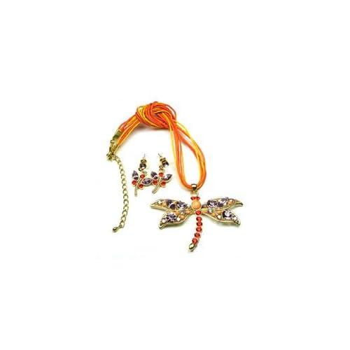 Orange Light Purple Color Austrian Rhinestone Dragonfly Necklace Set