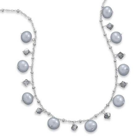 16 + 2 Inch Silver Cultured Freshwater Pearl and Crystal Necklace
